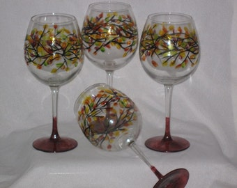 Hand Painted Valentines Day Set Of Two Wine Glasses With Etsy