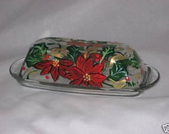 Hand Painted Butter Dish With Poinsettias