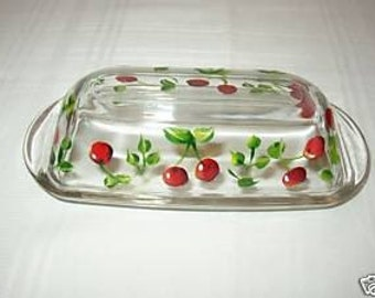 Hand Painted BUTTER DISH With CHERRIES