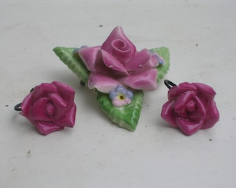 Pink Rose Bisque Brooch and Earrings
