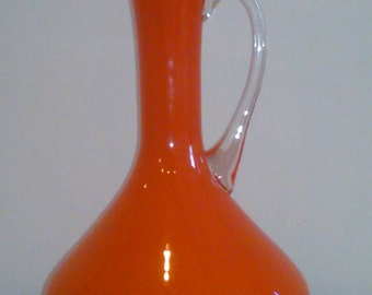 Cased Orange Glass Pitcher White Interior