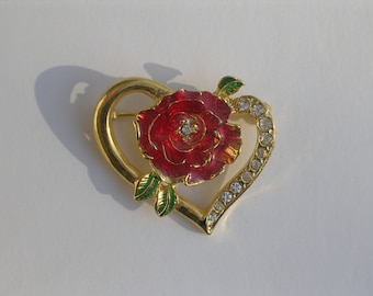 Vintage Rhinestone Heart and Rose Pin