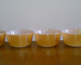 Peach Lustre Custard Cups Fire King 4