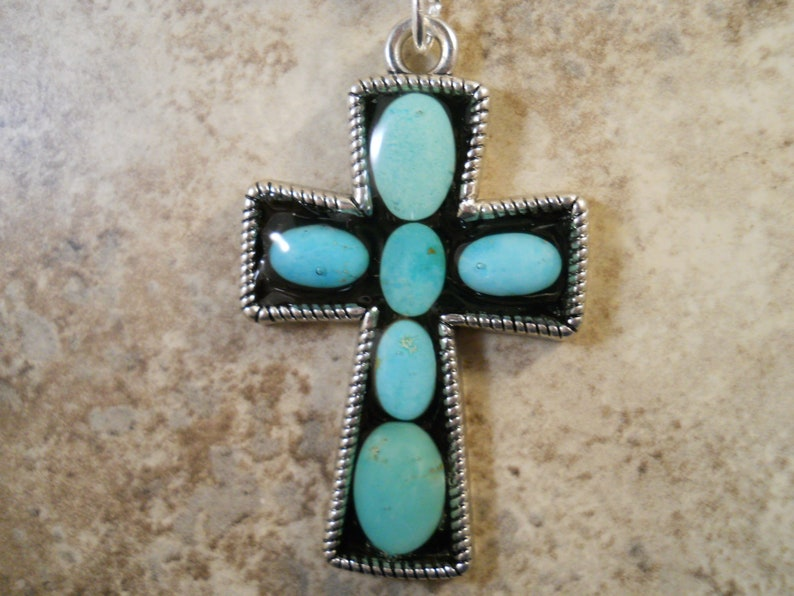 Cripple Creek Turquoise Cabochon Cross Pendant with 20 Sterling Silver Plated Chain