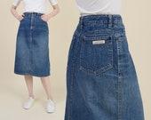 Vintage CALVIN KLEIN Skirt Denim Pencil Skirt High Waist Jean Skirt size Small 26 waist