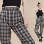 80s Plaid Pants | size XS | High Waisted Pleated Front Tapered Leg Slacks Casual Checkered Trousers Black Gray Pink | 25 inch waist