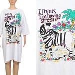 "Deadstock Vintage 80s White Oversize T Shirt ""I think I'm having Stress"" Tee ZEBRA Novelty Graphic Print Cotton T-shirt Dress - One Size"