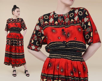 501b270af5f1 Vintage 80s Ethnic Print Top and Skirt | Two Piece Matching Set | Boho  Striped High Waisted Midi Skirt with Pockets Red Black | size XS S