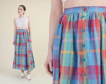 c701bda1d Vintage 80s Tartan Plaid Skirt | High Waist Full Cotton Skirt | Button  Front Maxi Skirt | Blue Red | Small 26 inch waist