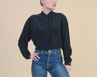 688775cc Vintage 80s Black Silk Blouse | Collared Button Down Shirt Loose Oversized  Minimal Silk Top | size Small S
