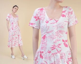 51d924e51a Vintage 80s Tropical Palm Tree Print Dress | size XS S | White and Pink  Dropped Waist Sundress | Jersey Knit T-shirt Dress with Pockets