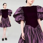 80s Purple Party Dress | Puffy Sleeve Princess Mini Dress Taffeta and Velvet Dress | Avant Garde Prom Dress | size Medium M 8 10