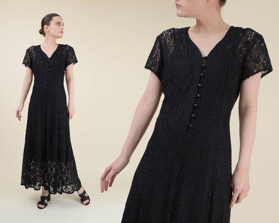Vintage Black Sheer Lace Dress | Boho Goth Long La