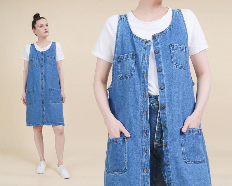 32425d03b7 Vintage 90s Sleeveless Denim Dress size Medium Minimalist