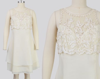 Vintage 90s Off White Party Dress | Sheer PEARL Beaded Neckline | size Medium