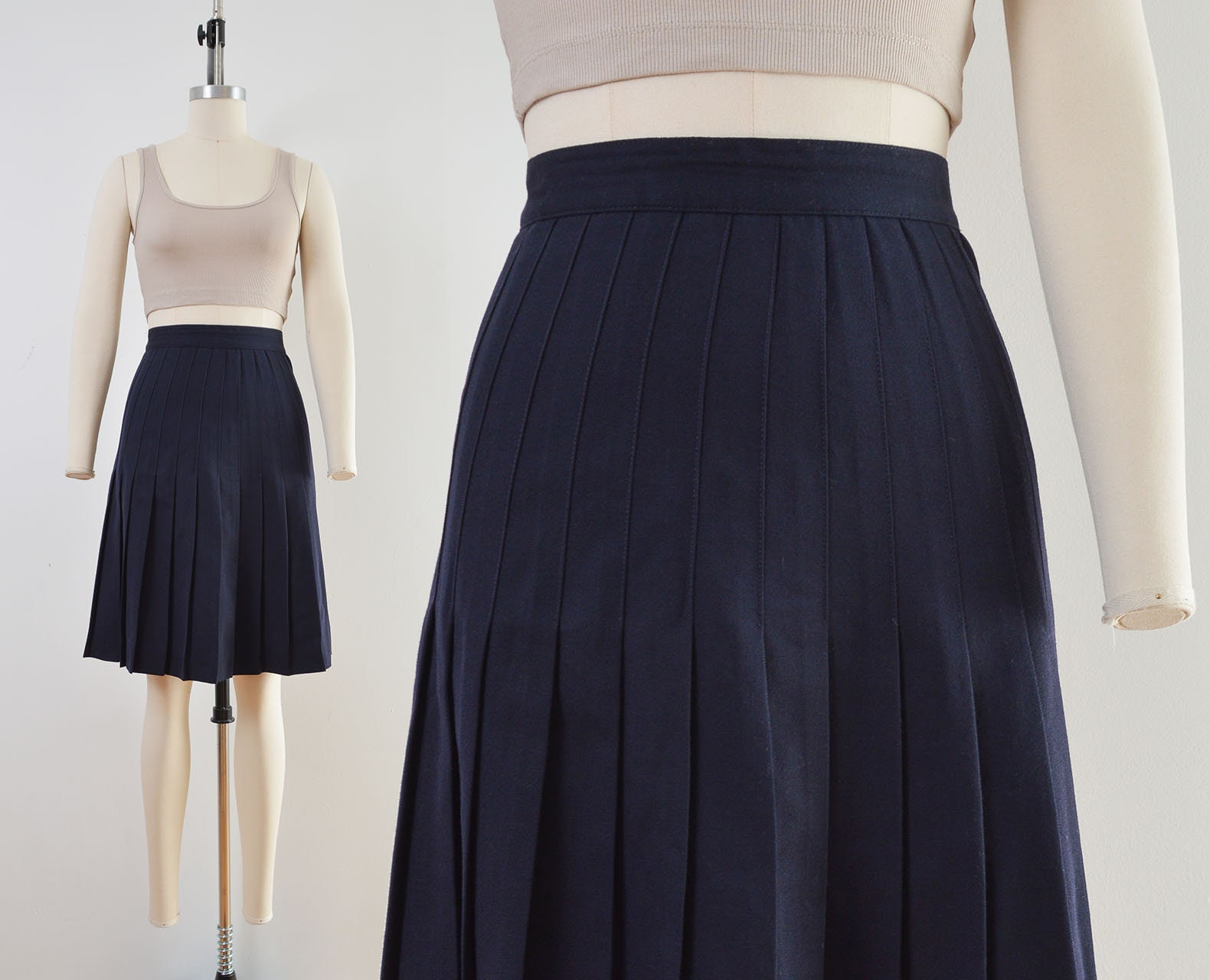 80s Dresses | Casual to Party Dresses Vintage Navy Wool Skirt  Pleated Mini School Girl Academia Tennis Size S $40.00 AT vintagedancer.com