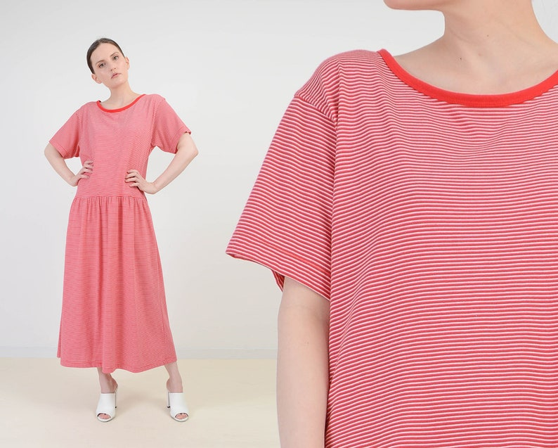 Vintage Striped T-shirt Dress  Red and White Drop Waist Maxi image 0