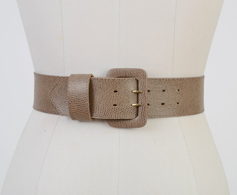 Vintage 80s Taupe Brown Faux Leather Belt  Embossed Reptile image 0