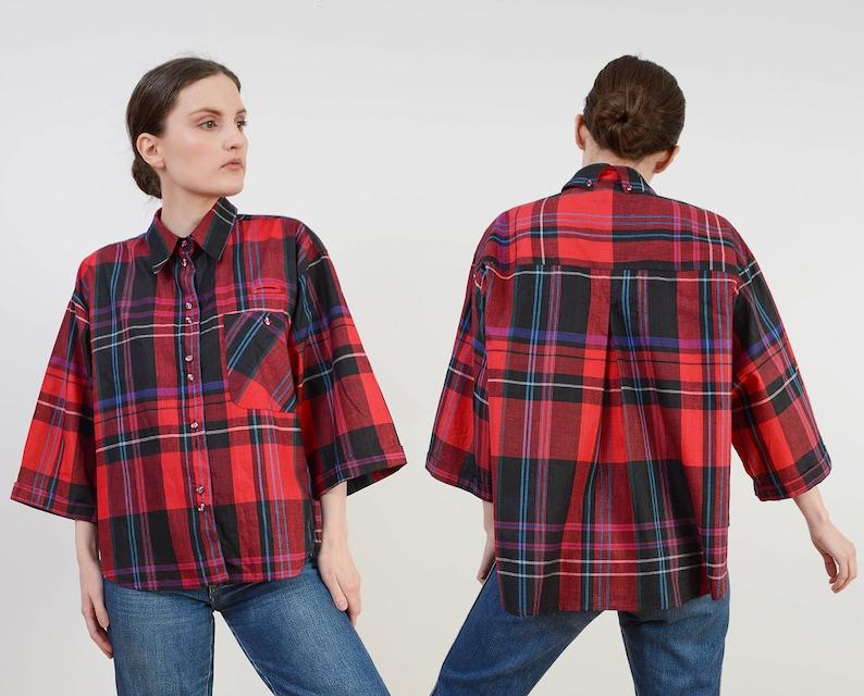 Vintage Cotton Plaid Shirt  Wide Bracelet Length Sleeves  image 0
