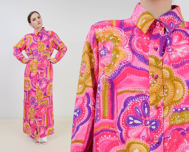 Vintage Penthouse Gallery Maxi Dress  Hot Pink Psychedelic image 0