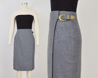 Vintage Gray Wool Skirt | Wrap Around Skirt with Buckle | size M 28 waist