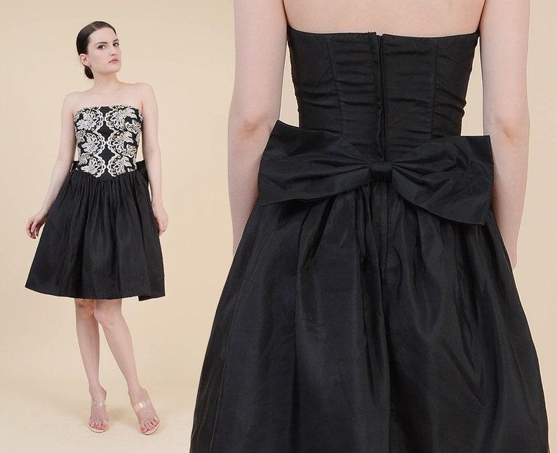 1a04efcc69d Gunne Sax 80s Black Party Dress Strapless Sequin Taffeta