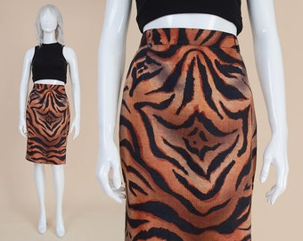 80s Linen Tiger Print Skirt | High Waist Pencil Skirt Knee Length Animal Print Skirt Byblos made in Italy | Brown Black | 27.5 waist 6 8