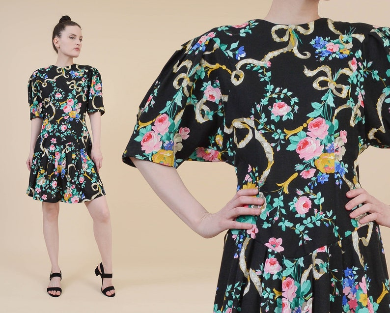 c020076bd06c Vintage 80s Black Floral Mini Dress size Medium Cotton | Etsy