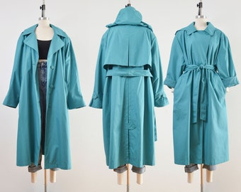 Teal Trench Coat | Vintage London Fog Raincoat | Long Belted Jacket with Hood | size 1X 2X