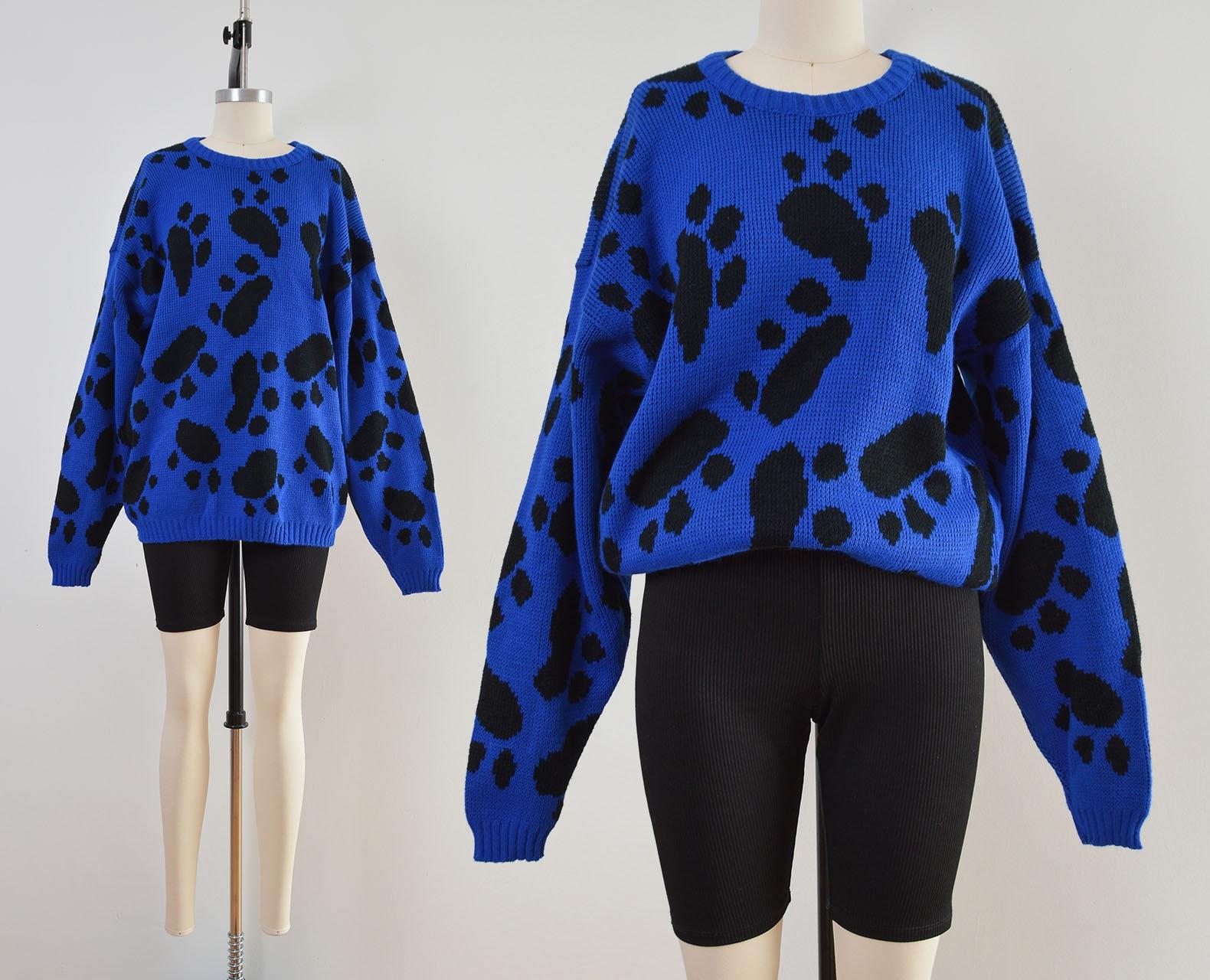 80s Sweatshirts, Sweaters, Vests | Women Vintage Paw Print Sweater  Blue  Black Dog Lover Size M L $62.00 AT vintagedancer.com