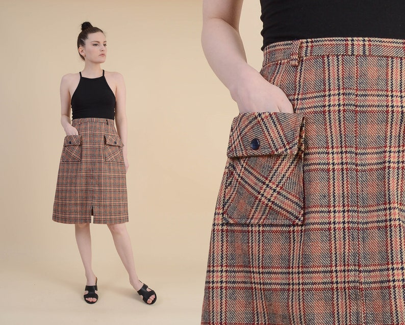 6a543d964d Vintage 70s Plaid Skirt Preppy Wool Blend High Waist A-line | Etsy