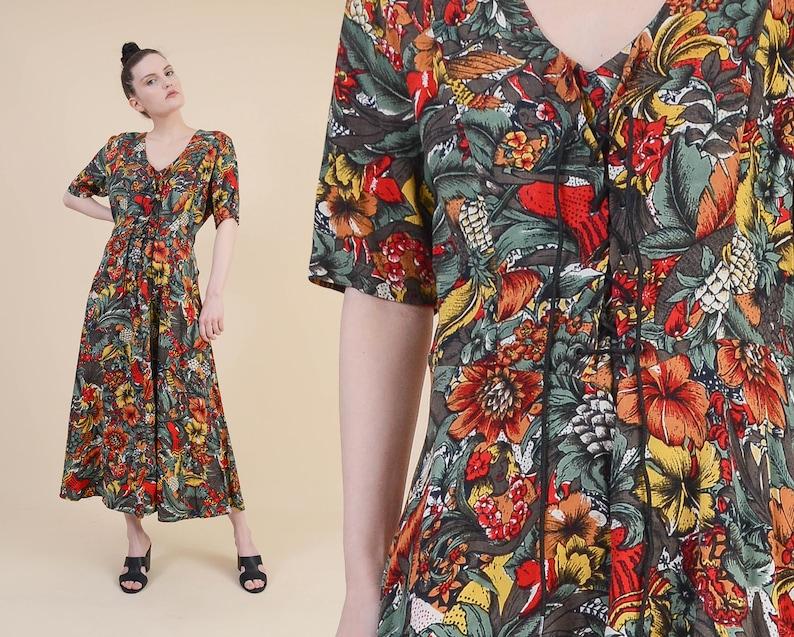 addba317d01c Vintage Hawaiian Print Dress size M L Tropical Floral | Etsy