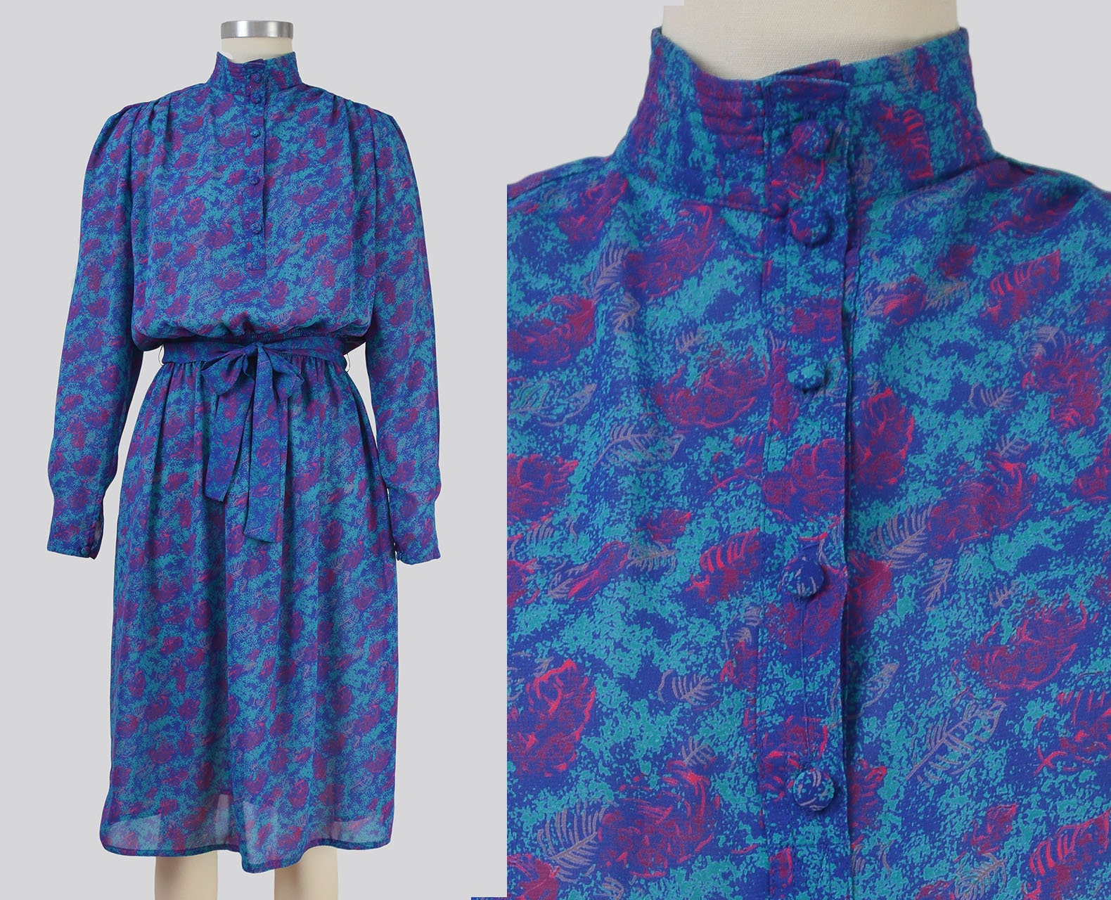 80s Dresses | Casual to Party Dresses Vintage 80S Blue Abstract Leaf Print Dress  Semi Sheer Blouson Secretary With Tie Belt Size Xs S $46.00 AT vintagedancer.com