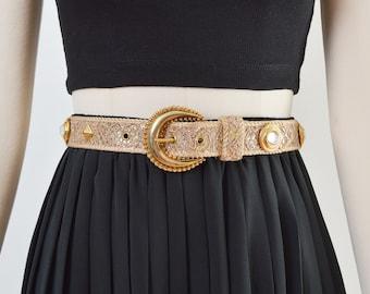 Vintage Metallic Gold Glitter Lace Belt | Jewel Studded Belt | size M L