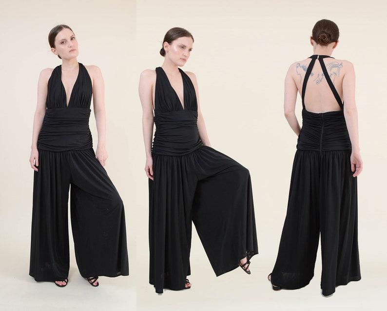 Vintage 90s Black Jumpsuit  size Medium  Ruched Drop Waist image 0