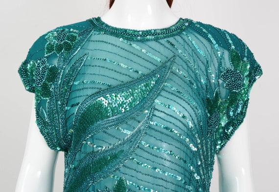Medium 80s Silk Cassini Blouse Art Top Cap Top Beaded M Evening size Blouse Green Sequin Sheer Deco Sleeve Trophy Party Oleg q1wY5Y