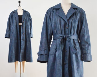 Navy Floral Trench Coat | Vintage London Fog Long Belted Raincoat with Wool Liner | size S M