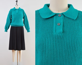 Vintage 80s Teal Sweater | Slouchy Fit Collared Sweater | size S M