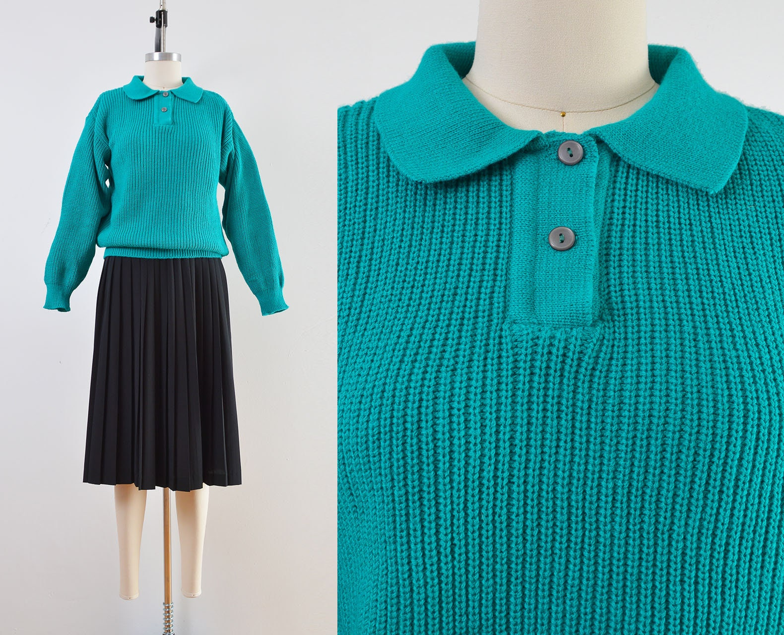 80s Sweatshirts, Sweaters, Vests | Women Vintage 80S Teal Sweater  Slouchy Fit Collared Size S M $38.00 AT vintagedancer.com
