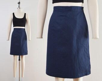 Vintage 90s Navy Linen Cotton Shorts | Wrap Around Skort | 32 inch waist