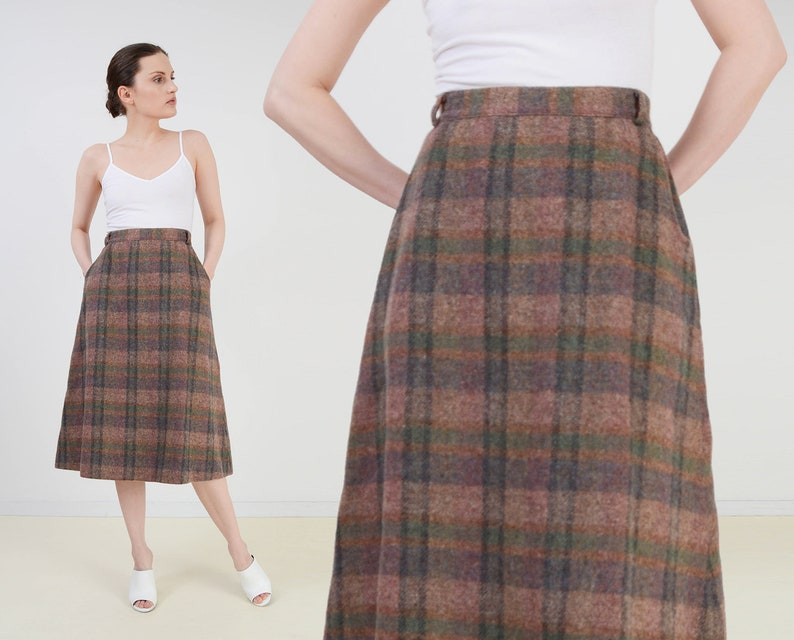 Vintage 70s Plaid Skirt  Flared A-line Skirt  High Waist image 0