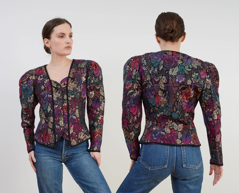Vintage Floral Brocade Jacket  Puff Sleeve Renaissance image 0