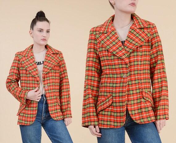 Vintage 70er Jahre karierten Blazer | Orange und grün geschneidert anzug Jacke Wolle Mischung Retro Hippie Blazer breite Revers | Größe Mittelgroß M L