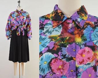 Vintage Watercolor Floral Blouse   Silk Oversized Button Down Shirt   size M L