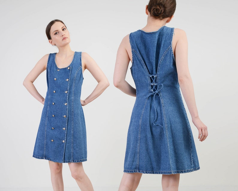 Vintage 90s Denim Mini Dress  size M L  Double Breasted image 0