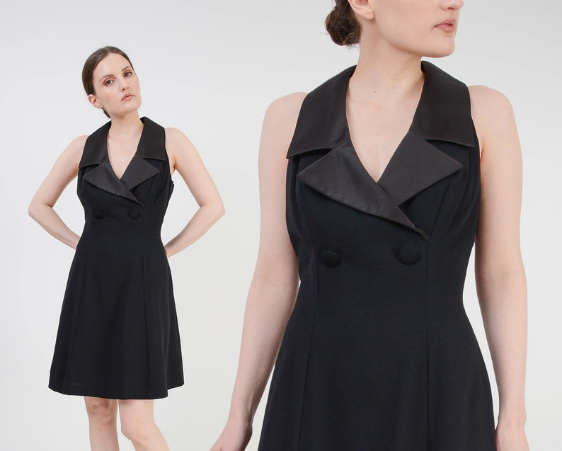 Vintage Black Tuxedo Dress  Fit and Flare Collared Dress  image 0