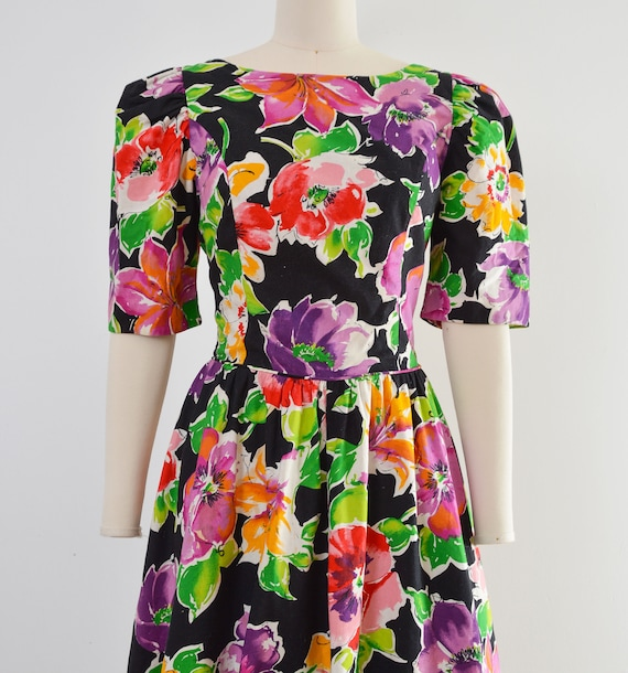 Vintage 80s Floral Cotton Dress | Puff Sleeve Ope… - image 6