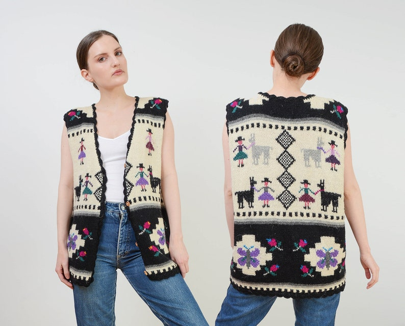 Vintage 70s Ethnic Sweater Vest  Alpaca Wool Knit Sweater  image 0