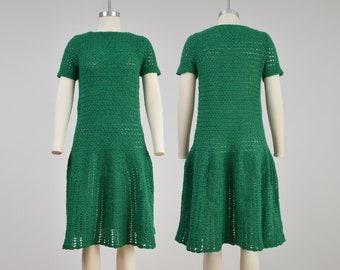 Vintage Green Crochet Dress | Hand Knit Sweater Dress | Drop Waist Dress | size XS S