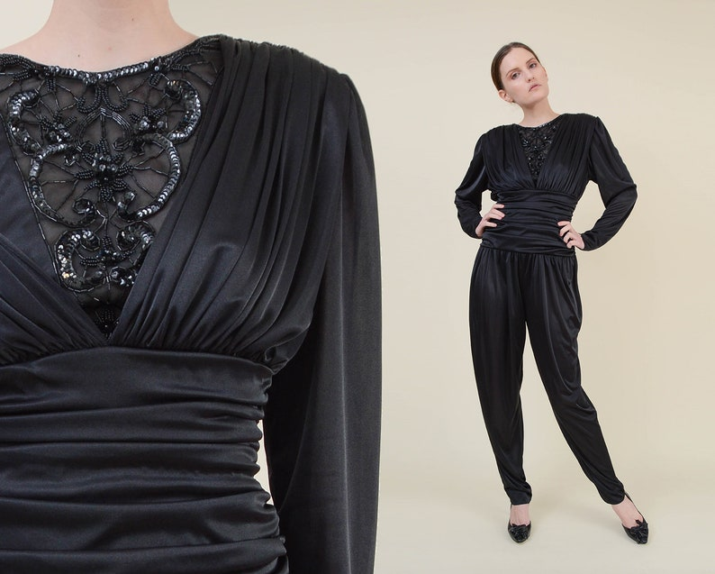 Vintage 80s Black Ruched Jumpsuit  Sheer Beaded Neckline image 0